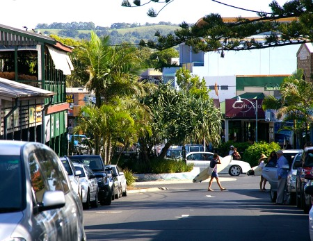 The main street, the beach end of town